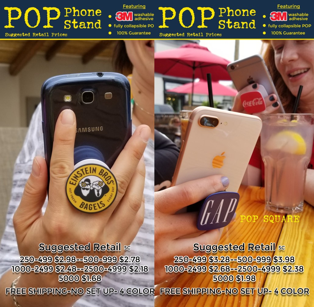 POP phone stand coded prices for round pop