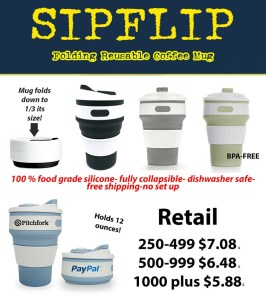 Get your logo on a Stojo style folding silicone reusable coffee mugs. These dishwasher safer, BPA free silicone folding cups and mugs are perfect for your logo or trade show.