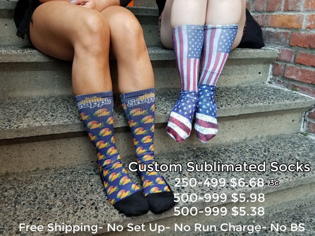 Custom logo socks for promotional product and b2b marketing. Get your logo on sublimated or knit custom socks