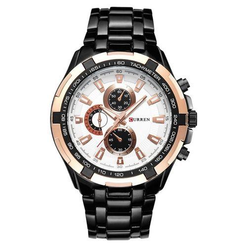 Promotion : Curren montre pour homme – Acier Inoxydable – noir/blanc/gold