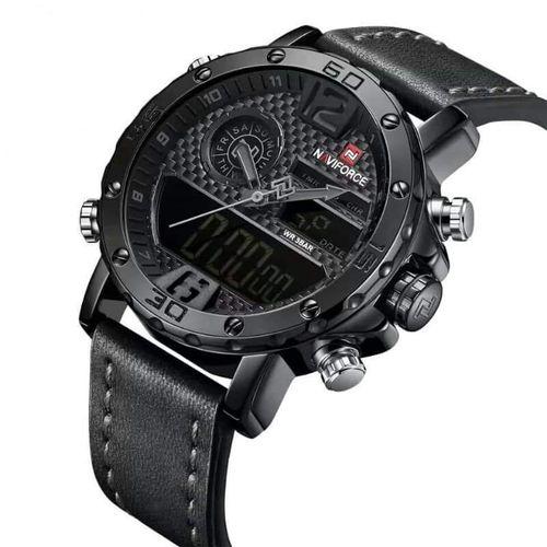 PROMO : Naviforce montre pour homme – Bracelet en cuir noir