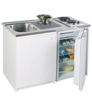 kitchenette avec placard sous evier en inox refrigerateur plaque de cuisson et robinetterie
