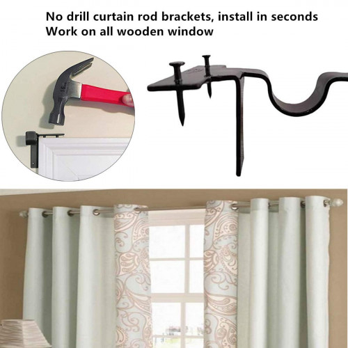 curtain rod brackets no drill double wall bracket set easy to install tap right into window frame adjustable curtain rod holder for bedroom