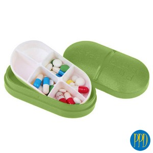 Bamboo fiber pill case.Eco friendly pill case made from 100% sustainable and recyclable bamboo fiber. Promotional Product Direct