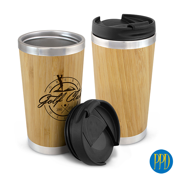 bamboo and stainless steel thermal coffee cup reusable