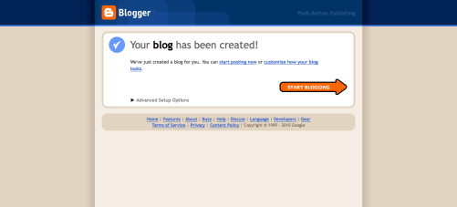Blogger, Your Blog has been Created screen shot