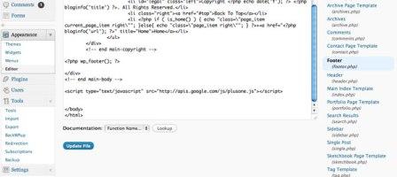 WordPress Footer Editor, Google +1 Button