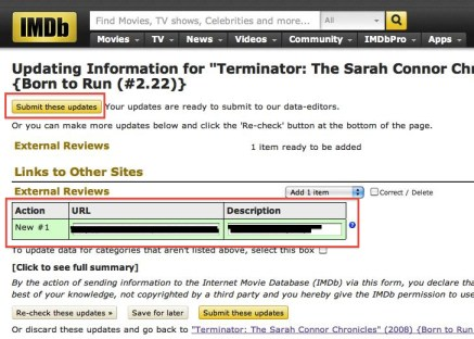 IMDb, SUbmitting Updates, External Reviews