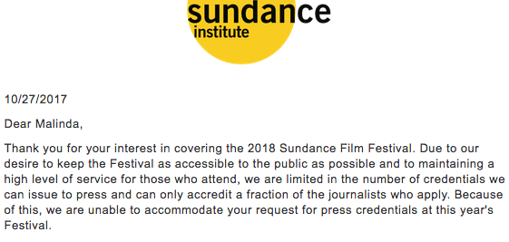 Malinda Money 2018 Sundance Film Festival Press Accreditation Denial