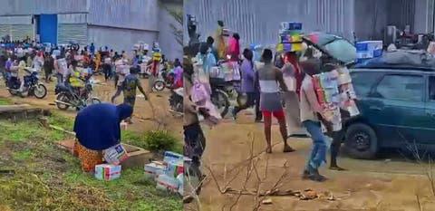 Residents of Osun, Kwara break into warehouse, cart away COVID-19 palliatives + VIDEO