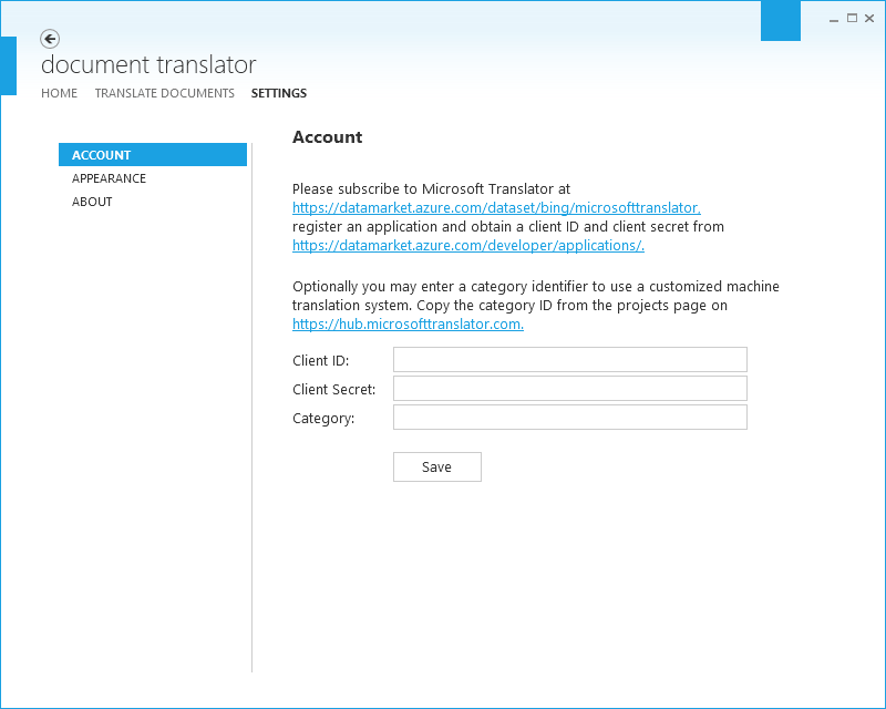 Document Translator Settings