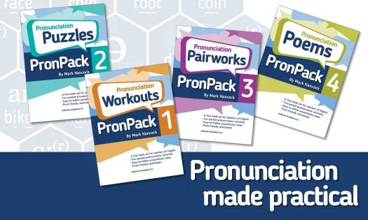 Pronunciation made Practical showing the PronPack books 1-4