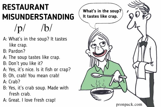 Restaurant misunderstanding - shows how dialogue could be confusing