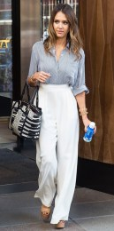 Jessica-Alba-Collared-Shirt-White-High-Waisted-Trousers-The-LifeStyle-Reporter