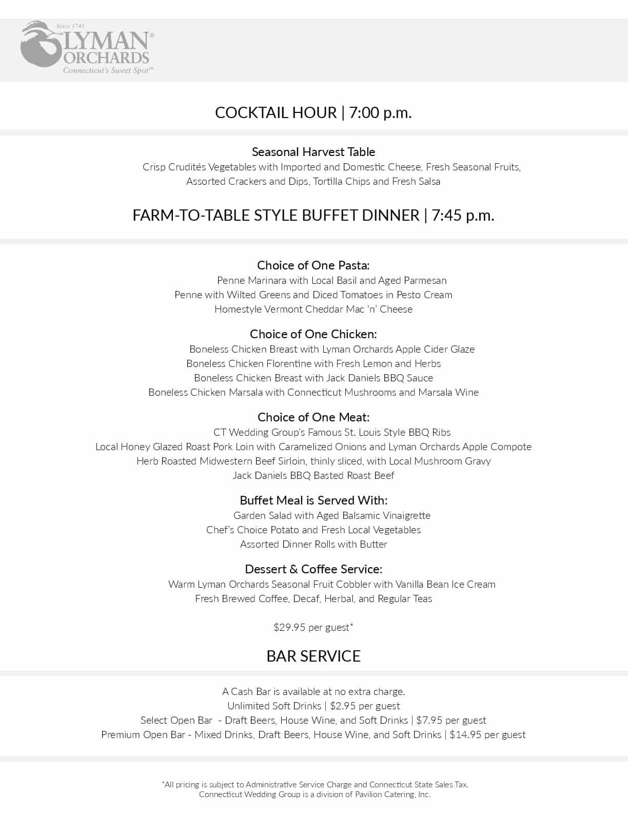 our food wedding menus
