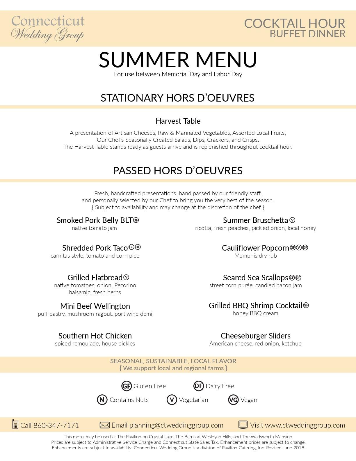summer buffet menu ct