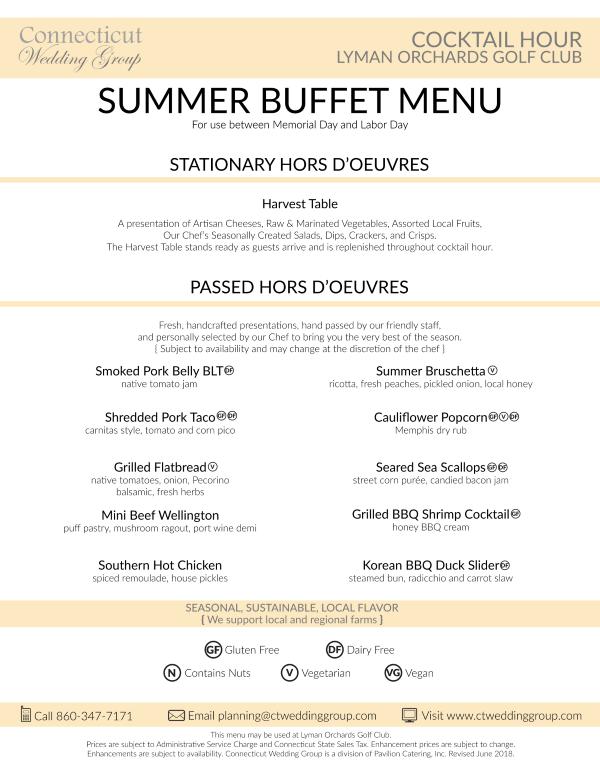 summer buffet menu lyman