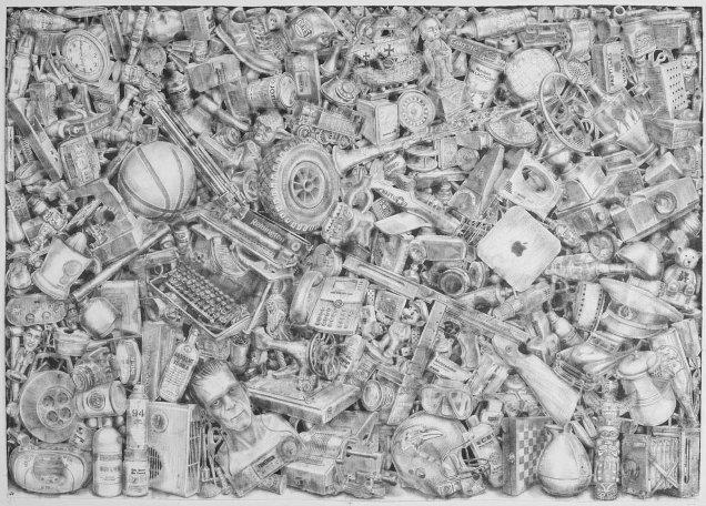 386. lápiz de acuarela sobre papel, 140 x 200 cm. 2013. ©Jairo Alfonso