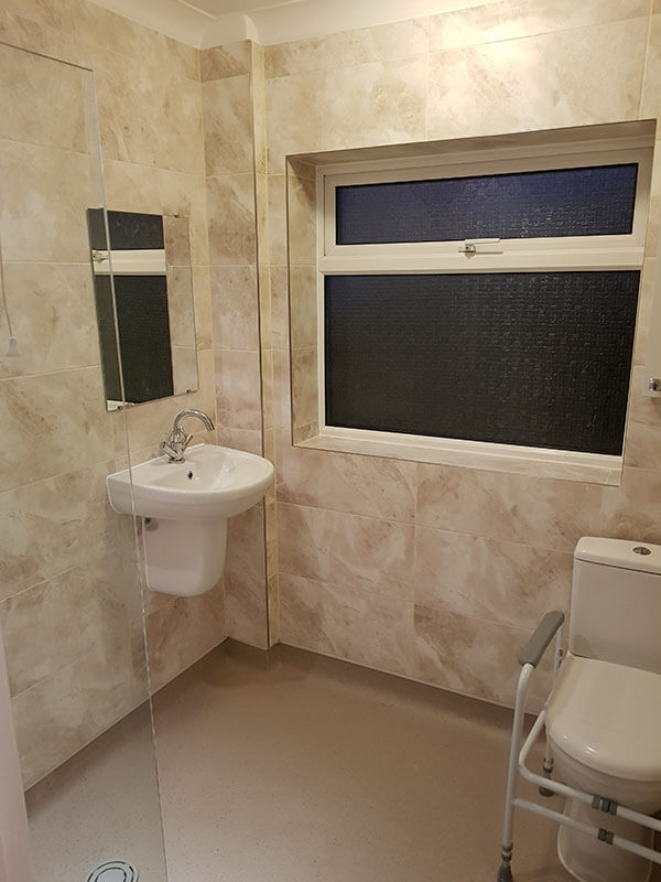 image of open wetroom with easy wheelchair access