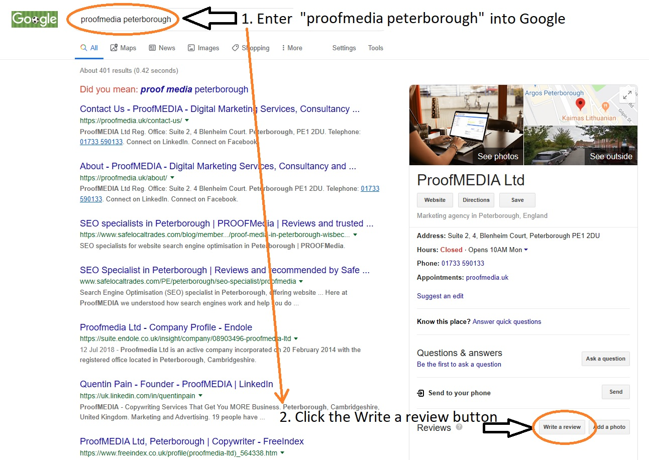 ProofMEDIA Peterborough Google Review Instructions