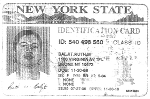 ruth baljit new york state id card