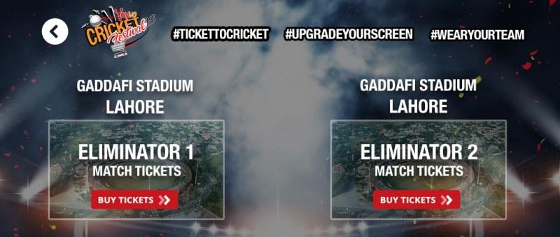 Eliminator 1 Vs Eliminator 2 PSL 2018 Match Tickets