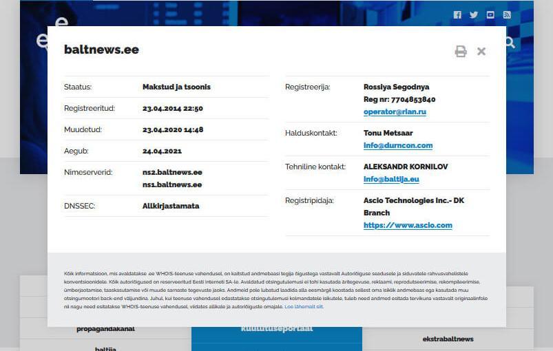 Die Estnische Internet-Foundation verletzt durch eine Dänische Firma Sanktionen gegen Russland