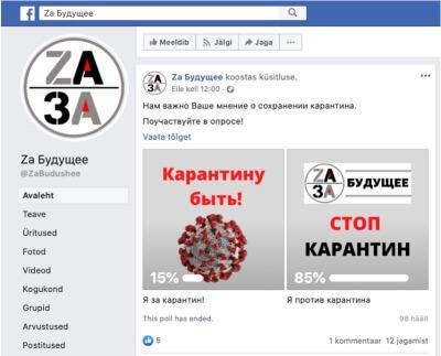 Die estnische Coronamaßnahmen angreifende FB-Seite kann mit den Beeinflussungsnetzwerken des Kremls in Verbindung gesetzt werden