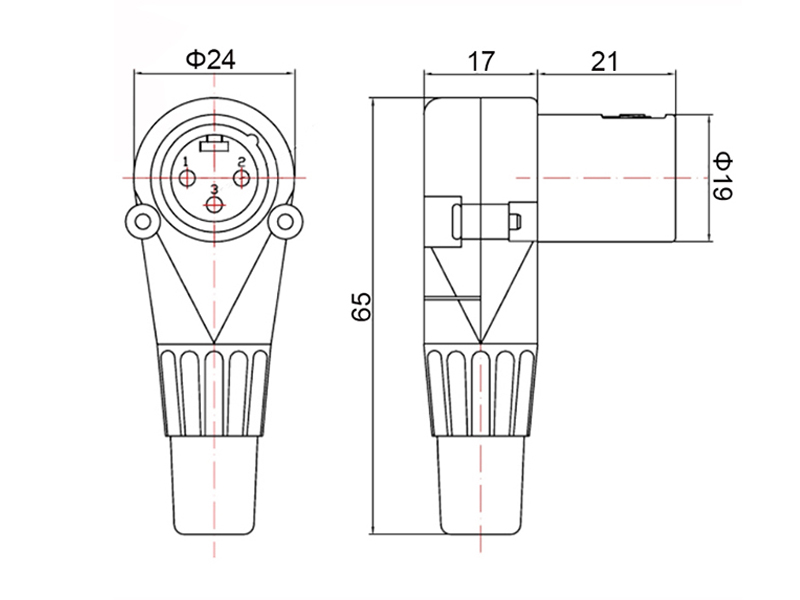 XLR3M007 3-Pin Right Angle XLR Male Cable Connector