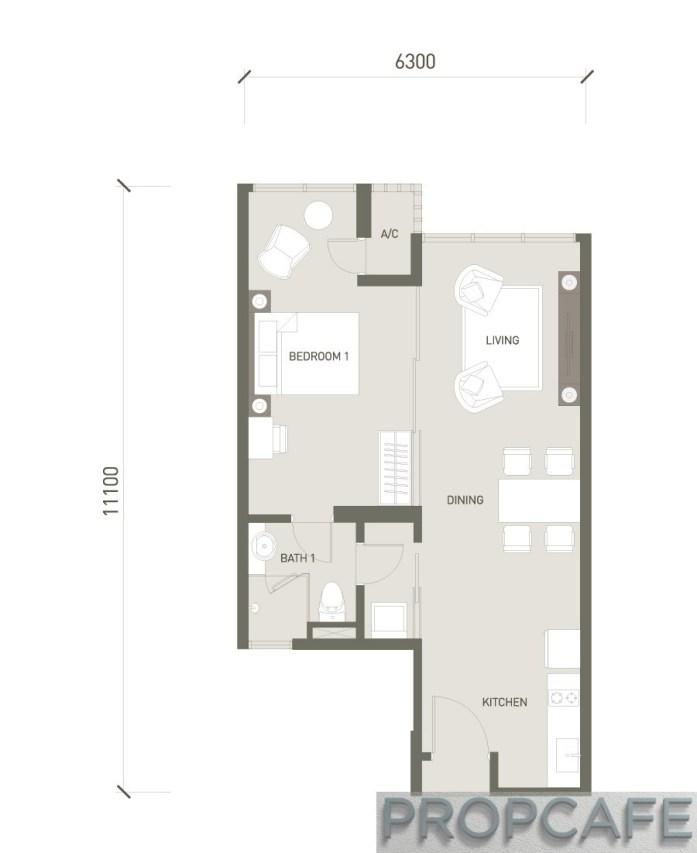V Residence Suites 624sf