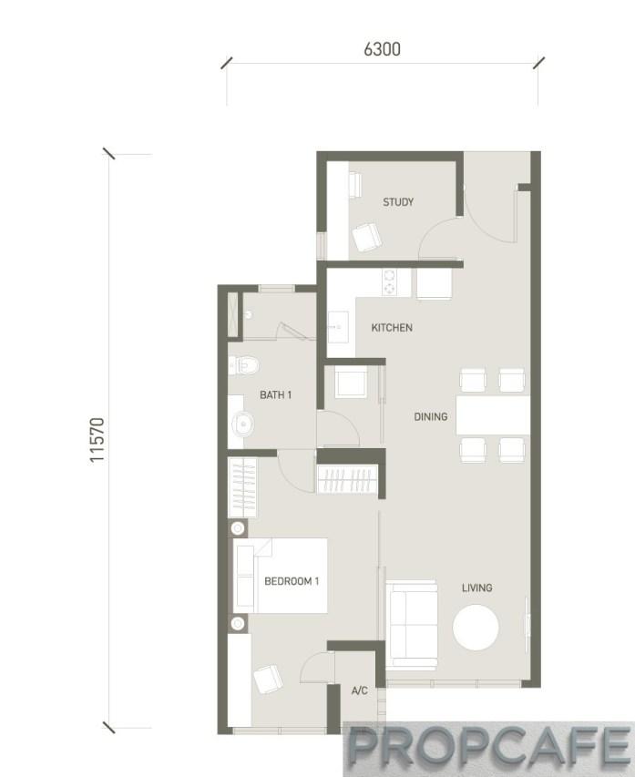 V Residence Suites 1+1 BEDROOM 694 SQ. FT / 64.5 SQ. M