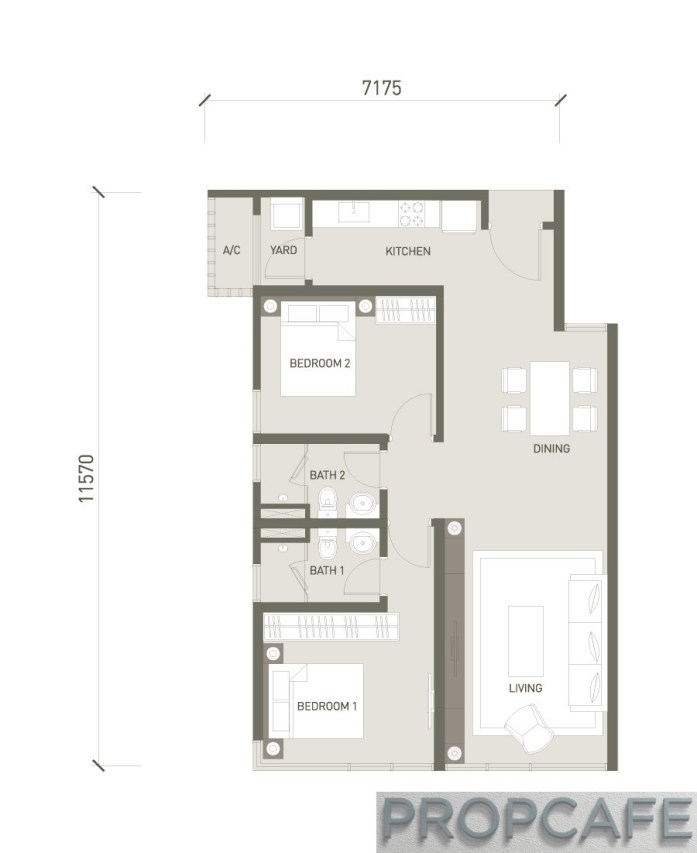 V Residence Suites 2 BEDROOMS 877 SQ. FT / 81.5 SQ. M
