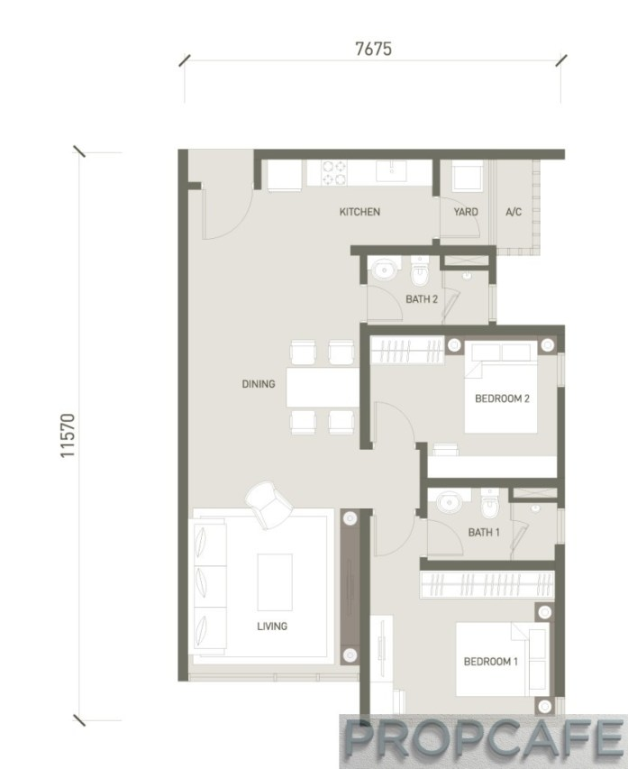 V Residence Suites 2 BEDROOMS 883 SQ. FT / 82 SQ. M