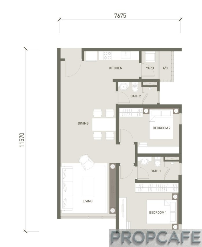 V Residence Suites 2 BEDROOMS 883 SQ. FT / 82 SQ. M