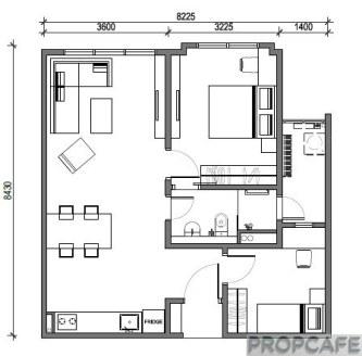 Type C 703sqft 2 bedrooms