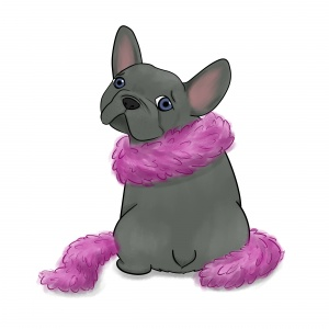 French bulldog in a feather boa
