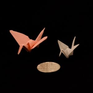 Origami miniature cranes