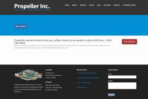 Old Propeller Inc Website Design, which has no clear focus on our warehousing services