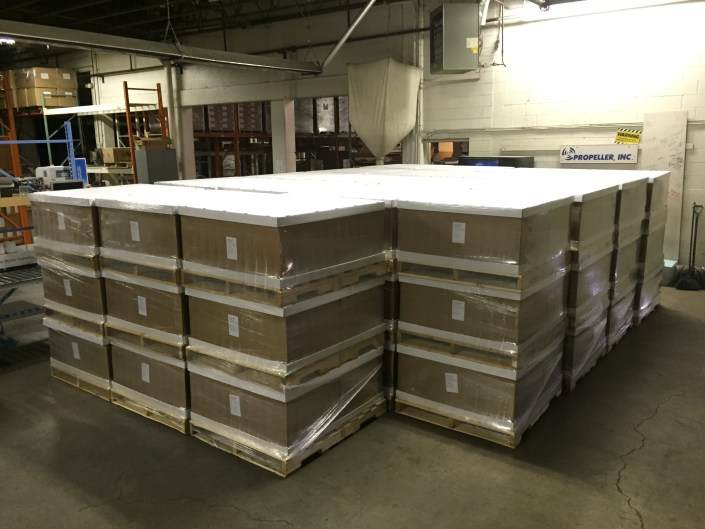 storing finished components for store display and shipping at Propeller Inc