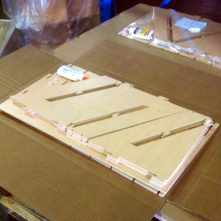 Harmony Home POP display components prepped for packaging.