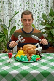 """Rob with a balloon roast dinner and cutlery"""
