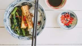 VIETNAMESE Lemongrass tofu and chilli kangkong