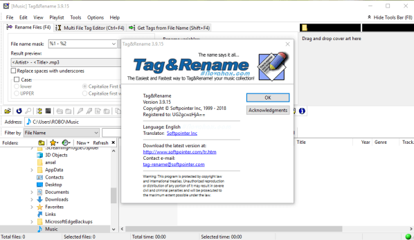 Tag&Rename 3.9.15 Patch and Serial key