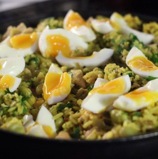 Kedgeree with poached or boiled eggs
