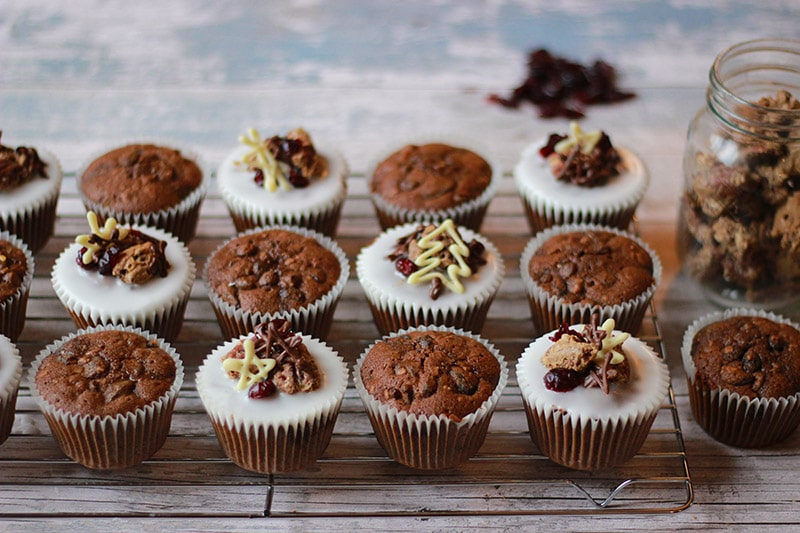 Christmas muffins iced