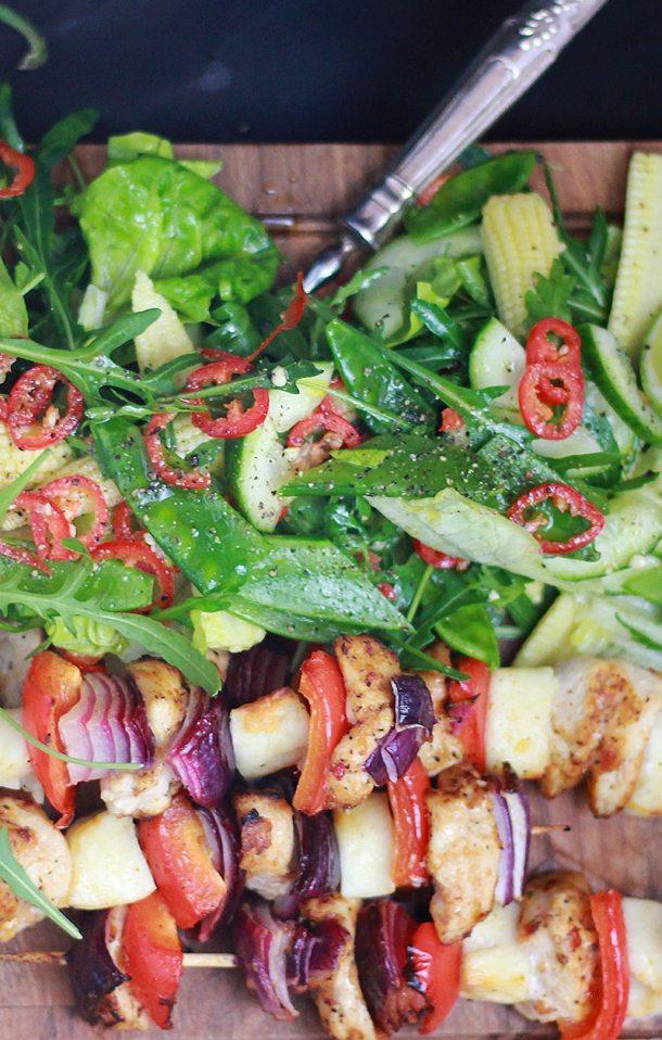 chicken,halloumi and veg skewers