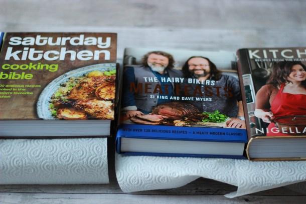 cookbooks and salted aubergines
