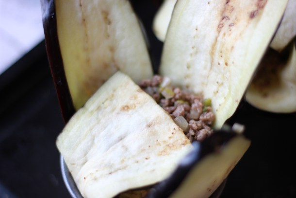 cut down aubergine to fit