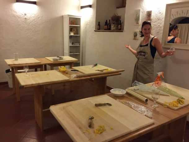 cooking at CIBO cookery school in Bologna