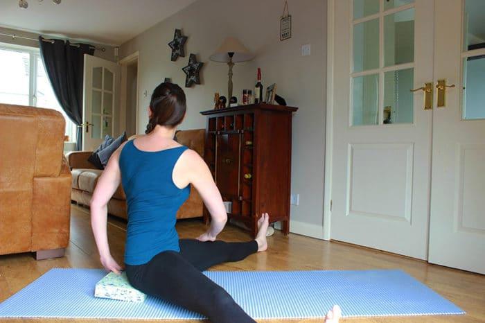 Yoga wide leg body twist